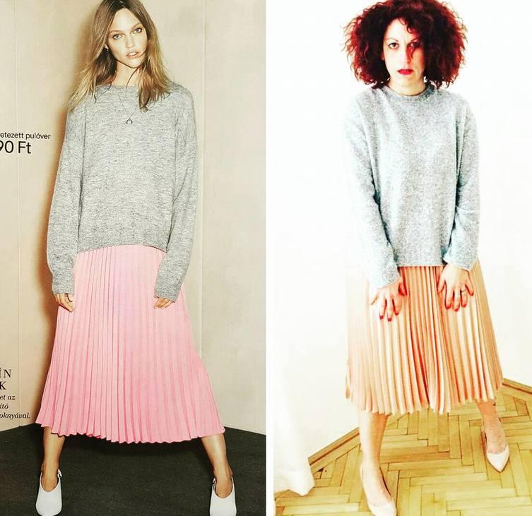 szürke oversize pulcsi és plisszírozott szoknya a modellen és zsuzsán